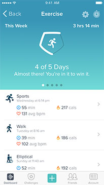 charge2 Exercise Goals Slide